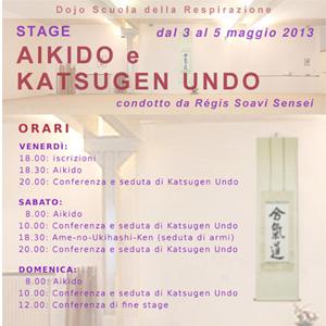 Il dojo Scuola della Respirazione organizza uno stage di Aikido (Pratica Respiratoria del M° Tsuda) e Katsugen undo (Movimento rigeneratore) condotto da Régis Soavi Sensei dal 3 al 5 maggio 2013.