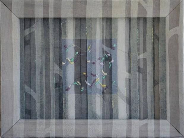 59224_Kaori-Miyayama, il cielo in fondo 4, 2017, xilografia, filo, seta organza su struttura in legno, cm 30x40x3,5